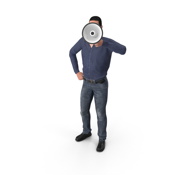 Casual Man James Holding Loudspeaker PNG & PSD Images