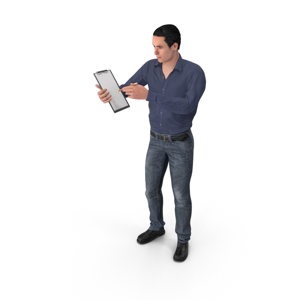 Casual Man James Holding Notepad PNG & PSD Images