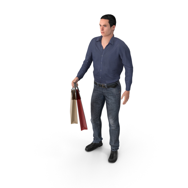 Casual Man James Holding Shopping Bags PNG & PSD Images