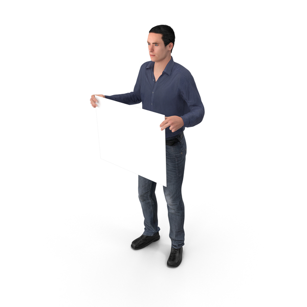 Casual Man James Holding Sign PNG & PSD Images