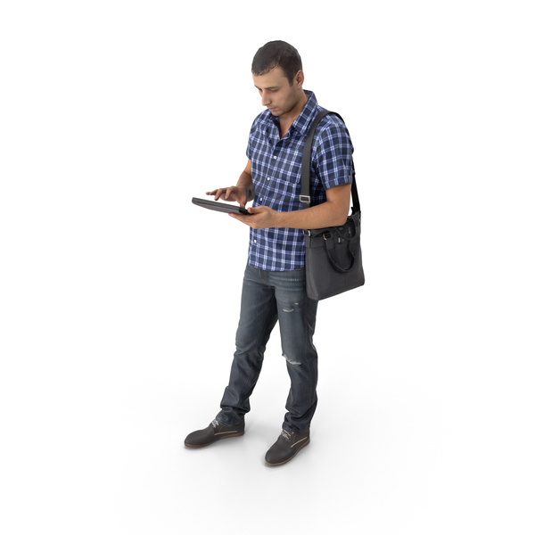Casual Man with Tablet PNG & PSD Images