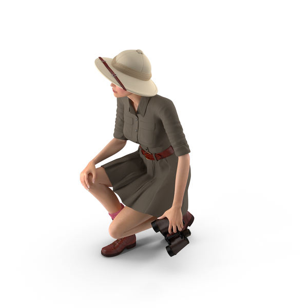 Caucasian Woman in Safari Costume Crouching Pose PNG & PSD Images