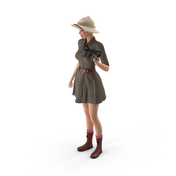 Caucasian Woman in Safari Costume with Binocular PNG & PSD Images