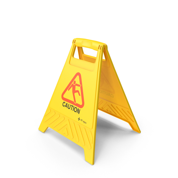 Caution Floor Sign PNG & PSD Images