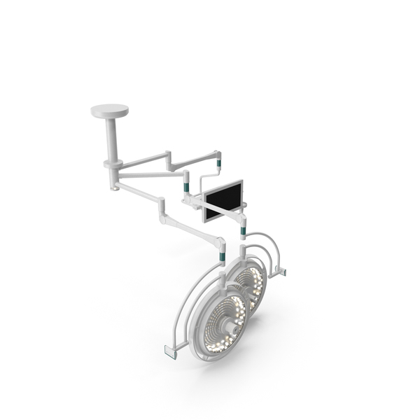 Ceiling Mount Two Surgical Light with Monitor Generic PNG & PSD Images