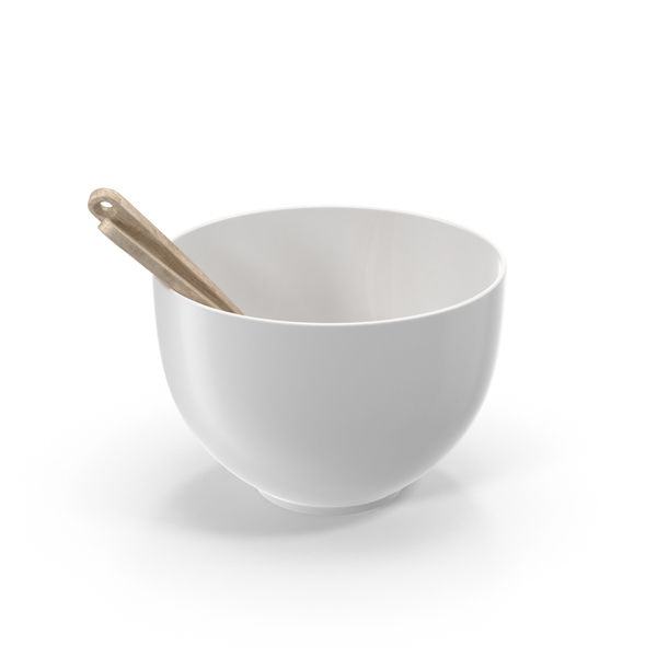 Ceramic Bowl with Wooden Utensils PNG & PSD Images