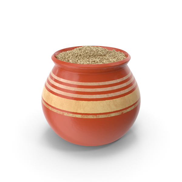 Ceramic Pot With Brown Rice PNG & PSD Images