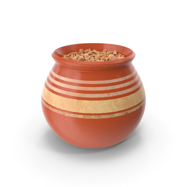 Grain: Ceramic Pot With Buckwheat PNG & PSD Images