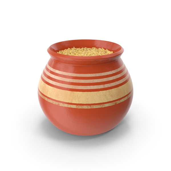 Ceramic Pot With Dehulled PNG & PSD Images