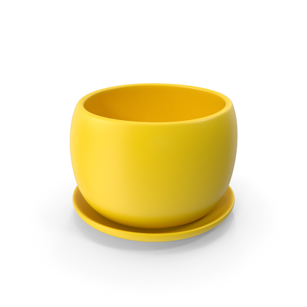 Flower: Ceramic Pot With Plate Yellow PNG & PSD Images