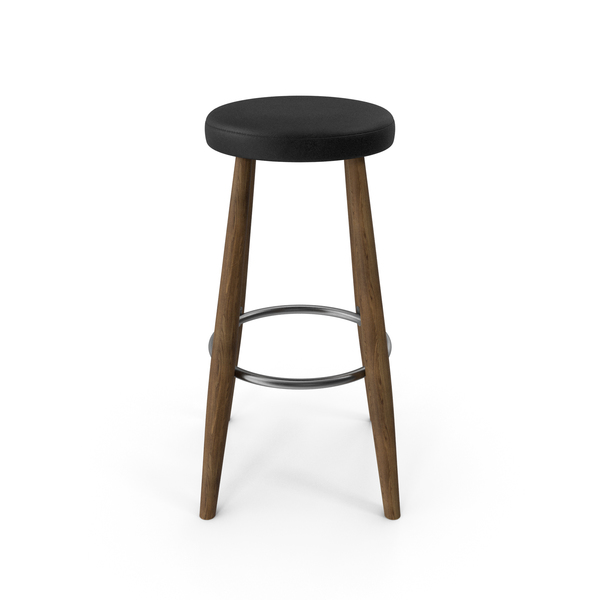CH56 Bar Stool Walnut Black PNG & PSD Images