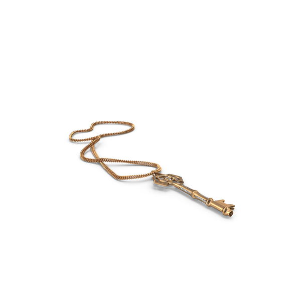Chained Fantasy Golden Key with Diamonds PNG & PSD Images