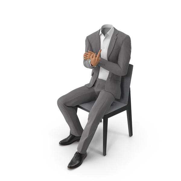 Chair Middle Finger Left Suit Grey PNG & PSD Images