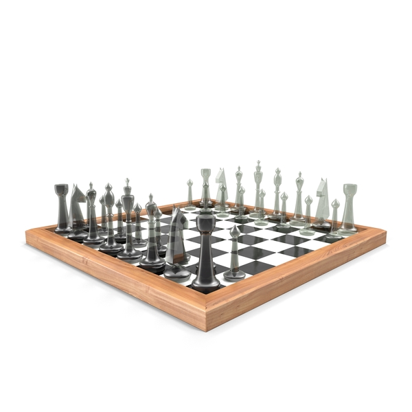 Chess Board with Glass Pieces PNG & PSD Images