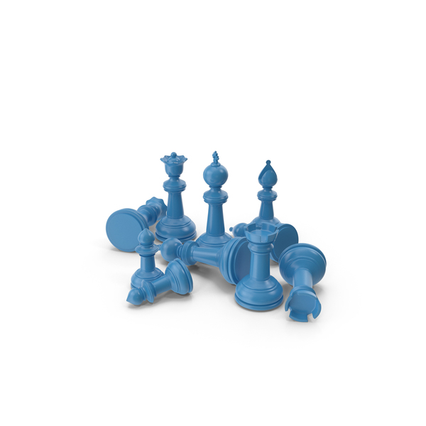 Chessmen: Chess Pieces Blue PNG & PSD Images