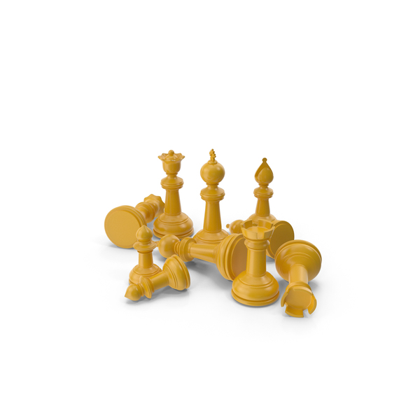 Chessmen: Chess Pieces Yellow PNG & PSD Images