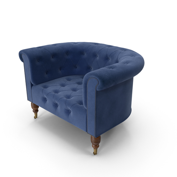 Arm Chair: Chesterfield Armchair Dark Blue PNG & PSD Images