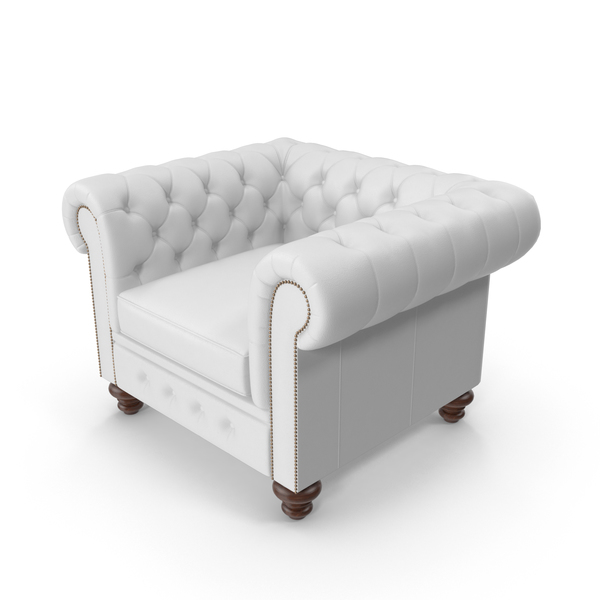 Chesterfield White Tufted Chair PNG & PSD Images