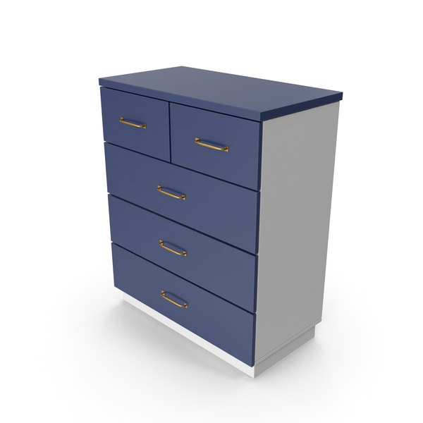 Four Drawer Dresser: Chiffonier Commode Blue White PNG & PSD Images