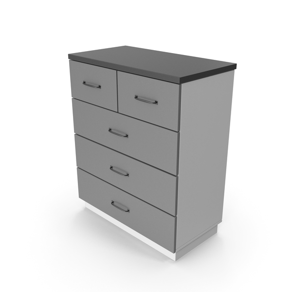 Four Drawer Dresser: Chiffonier Commode Gray PNG & PSD Images