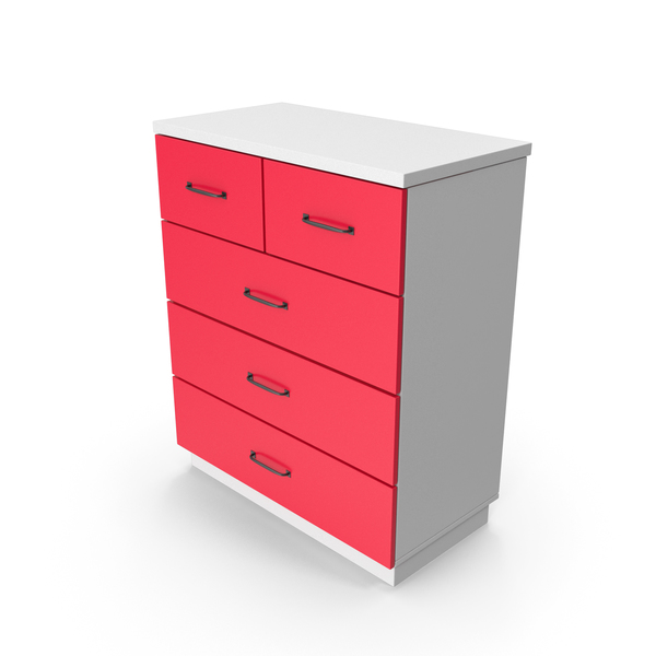 Four Drawer Dresser: Chiffonier Commode White Red PNG & PSD Images
