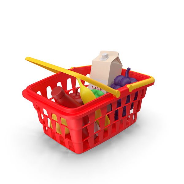 Children Shopping Basket with Grocery Food Toy PNG & PSD Images