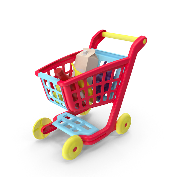 Children Shopping Cart with Grocery Food Toy PNG & PSD Images