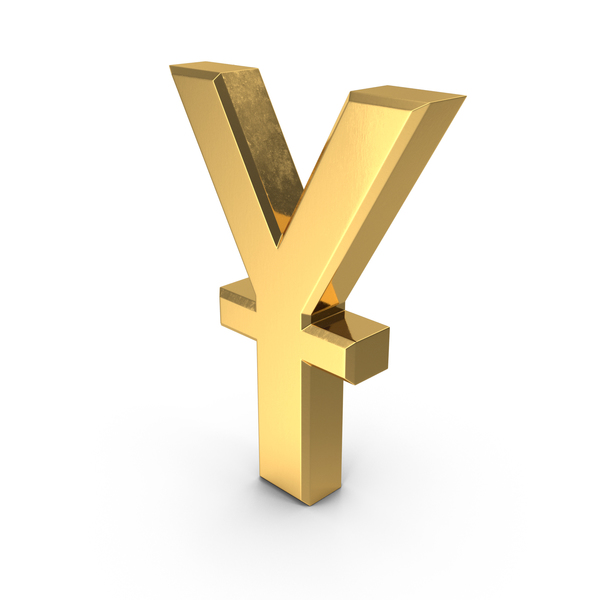 Yen Sign: Chinese Yuan Currency Symbol Gold PNG & PSD Images