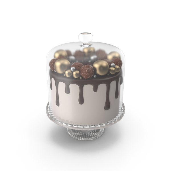 Chocolate Cake with Candy Decor and Glass Dome PNG & PSD Images