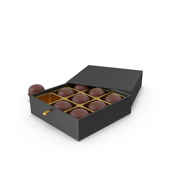 Chocolate Candies with Black Gift Box PNG & PSD Images