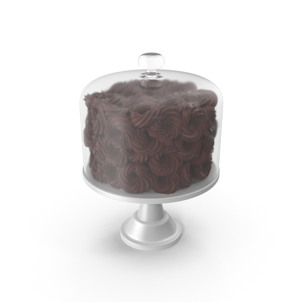 Chocolate Flower Cake With Glass Dome PNG & PSD Images