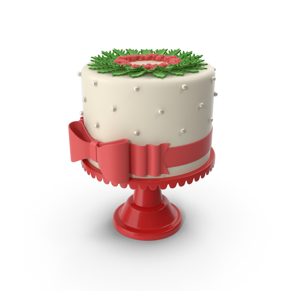 Christmas Cake with Red Bow PNG & PSD Images