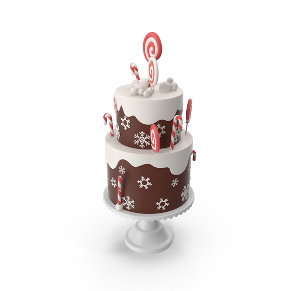 Christmas Cake with Snowflakes and Lollipops PNG & PSD Images