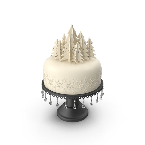 Christmas Cake with Trees and Snowflakes PNG & PSD Images