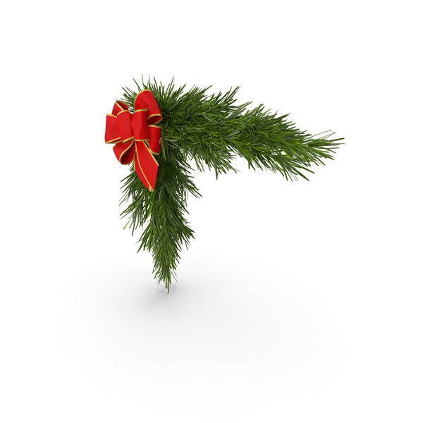 Christmas Corner Decoration with Bow PNG & PSD Images