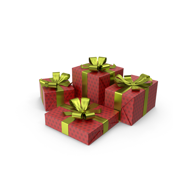 Christmas Presents With Bows PNG & PSD Images