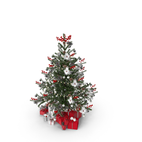 Christmas Tree with Gifts and Garland PNG & PSD Images