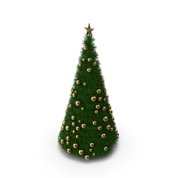 Christmas Tree with Golden Balls PNG & PSD Images