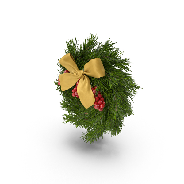 Christmas Wreath With Gold Bow PNG & PSD Images