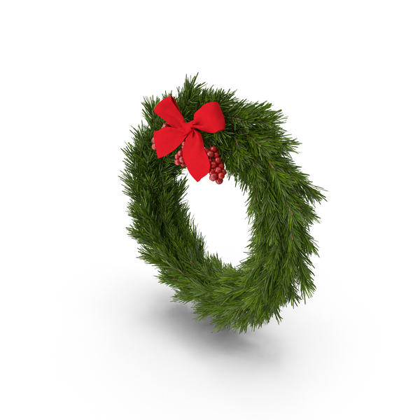 Christmas Wreath With Red Bow PNG & PSD Images