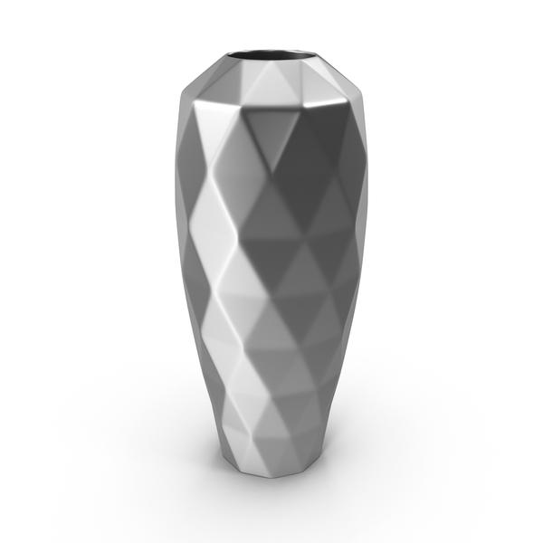 Chrome Modern: Metal Vase PNG & PSD Images