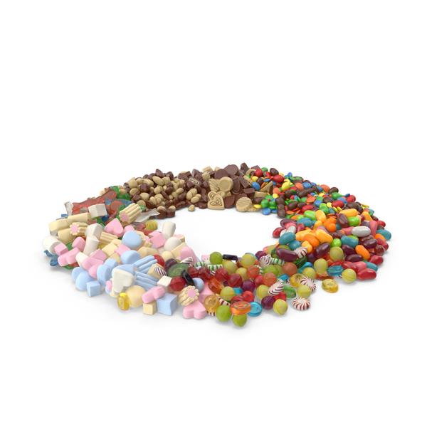 Candy Bar: Circle of Mixed Sweets PNG & PSD Images