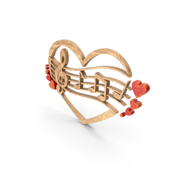 Musical: Clef Music Note Heart Wood PNG & PSD Images