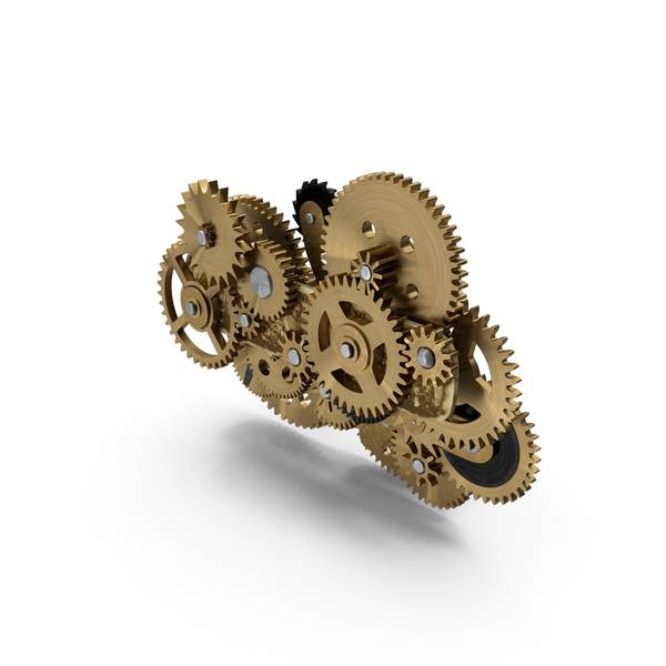 Clockwork Gear Mechanism Brass PNG & PSD Images