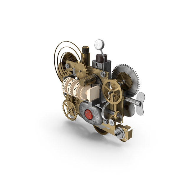 Clock: Clockwork Gear with Counter Mechanism Bronze PNG & PSD Images