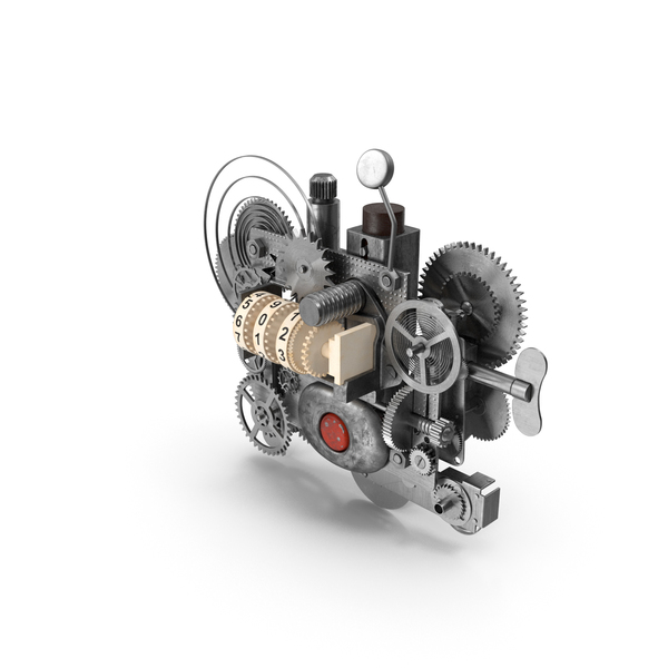 Clockwork Gear with Counter Mechanism Silver PNG & PSD Images