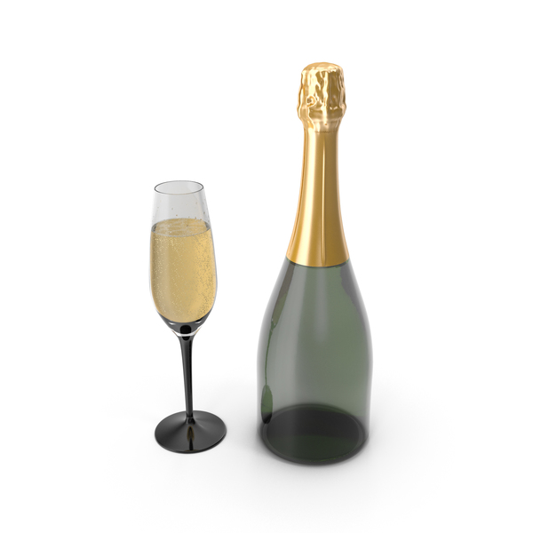 Closed Champagne Bottle With Glass PNG & PSD Images