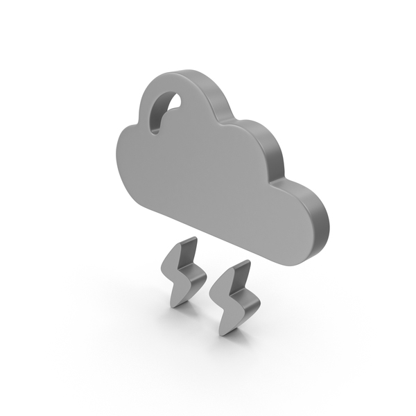 Cloud with Lightning Symbol PNG & PSD Images
