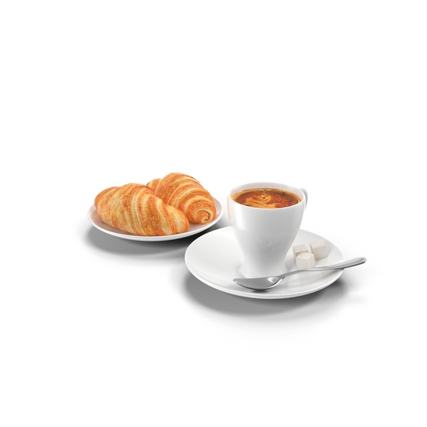 Breakfast Food: Coffee and Croissants PNG & PSD Images