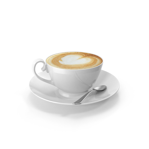 Coffee Cappucino Cup With Spoon PNG & PSD Images